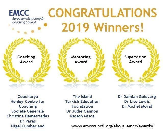Enhorabuena a los premiados como referentes en el mentoring y coaching EMCC