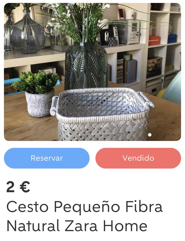 Cesto Pequeño Fibra Natural Zara Home
