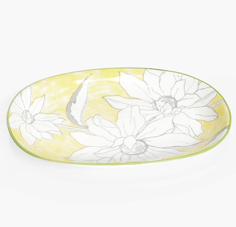 Fuente Oval Flores Amarilla de Zara Home