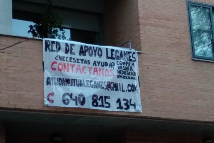Pancarta de «Leganés red de apoyo»