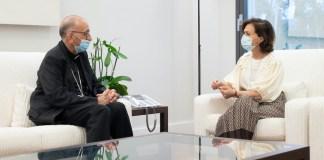 La vicepresidenta Carmen Calvo con el cardenal Omella, La Moncloa 24JUN2020