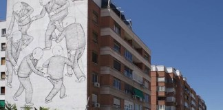 Imagen de la fachada con el mural de Blu | Foto: Página web del artista (blublu.org)