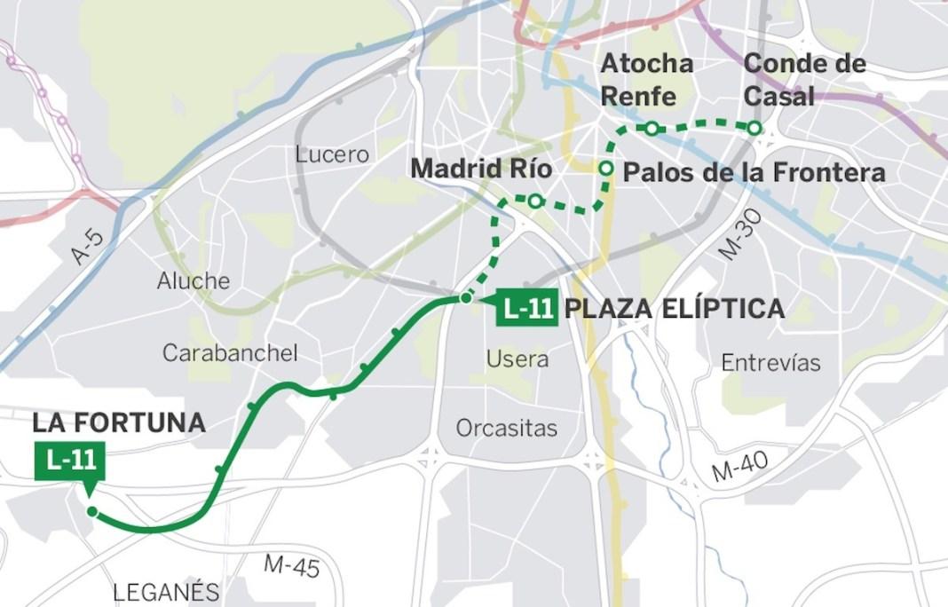 Metro Madrid línea once ampliación