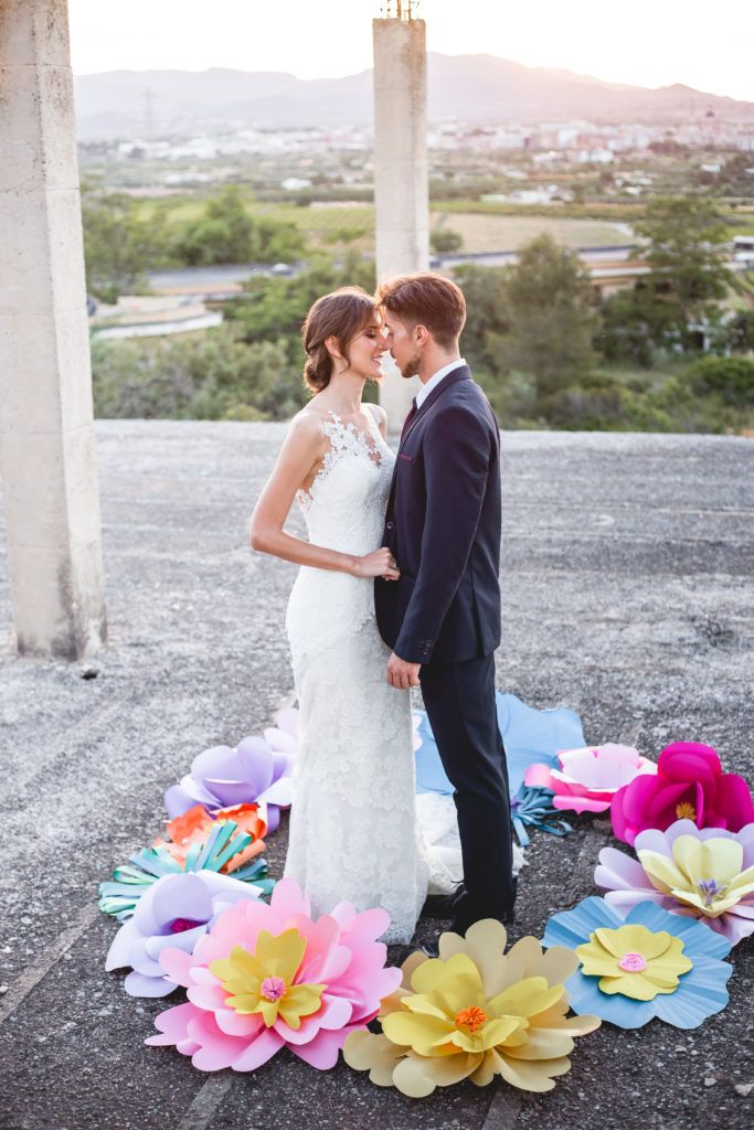 flores de papel gigante boda