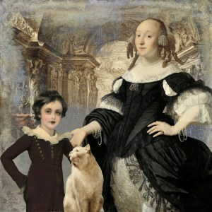 Mother and son with cat