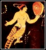 Detail of a Siren playing castanet. Paestan Red Figure. 340 B.C. Antikenmuseen, Berlin, Germany.