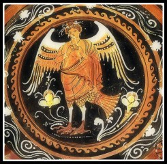 Bird-Siren playing the di-aulos. Paestan Red Figure. 350- 340 B.C. Würzburg, Martin von Wagner Museum .