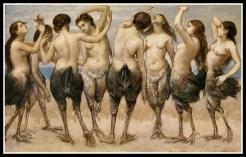 """""""Acht tanzende Frauen in Vogelkörpern"""" by Hans Thoma (1886)."""