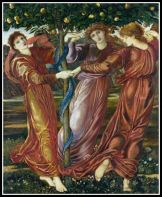 """Garden Of The Hesperides"" by Edward Burne-Jones, (19th c). The Hesperides were the daughters of Atlas."