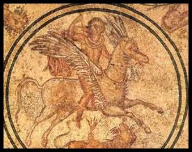 The hero Bellerophon, riding on the back of the winged horse Pegasus, spears the Chimera. Floor Mosaic. Period: Imperial Roman