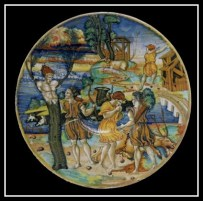 The myth of Cyparissus on 16th-century lusterware by Giorgio Andreoli.