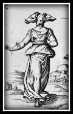Hecate depicted with three dogs heads. Cartari, Imagini colla sposizione degli dei degli antichi