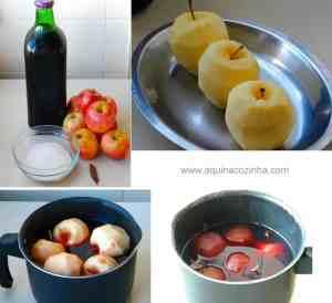 Sobremesa de maçã com suco de uva