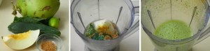 Suco verde de melão, couve e linhaça