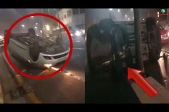 سيارتان تنقلبان في كورنيش عين الذياب
