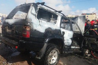 النيران تلتهم سيارة مركونة في مربد وسط أكادير