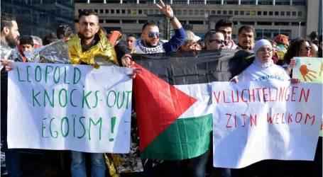 مظاهرة في بروكسل تنديدًا بسياسة أوروبا تجاه اللاجئين