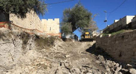 الاحتلال يهدم أجزاءً من سور مقبرة اليوسفية الإسلامية بالقدس