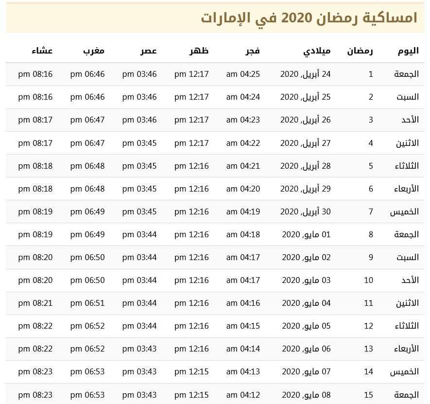 مواقيت الصلاة في شهر رمضان 2021 في الإمارات 1442