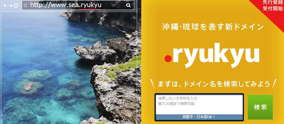 .ryukyuドメイン受付開始、お名前.com画像