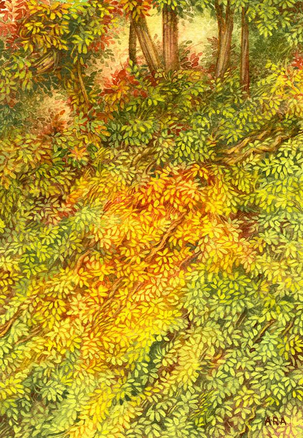 Le Talus n°2 - Aquarelle et Gouache sur papier 15cm x 10cm