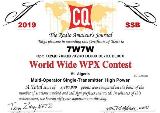 World Wide WPX Contest: 7W7W deuxième en Afrique