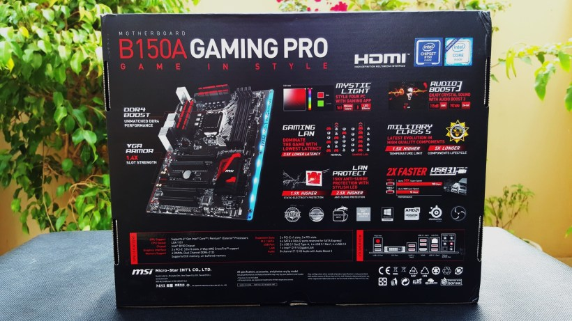 3- MSI B150A Gaming Pro Box Back