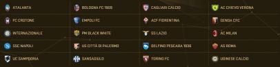 فرق الدوري الإيطالي في لعبة PES 2017