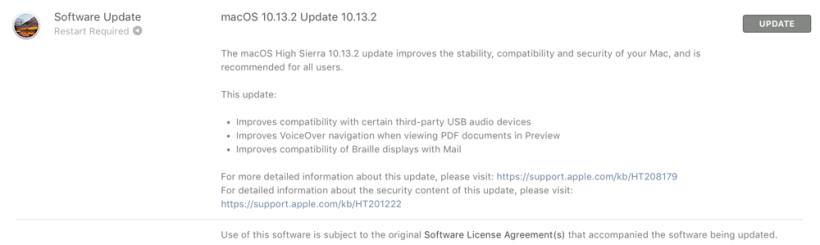 نظام التشغيل macOS High Sierra 10.13.2الخاص