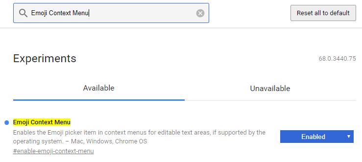 تفعيل لوحة مفاتيح الإيموجي الخاصة ب Google Chrome