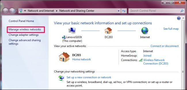 قُم بالضغط على Manage wireless networks