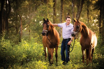 Joel Desmarteau with his foundation mares RGA Kouress