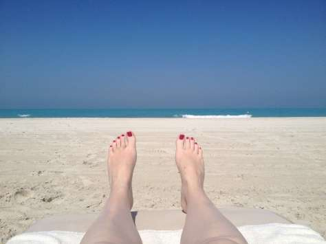 Relaxing on the beach at the Park Hyatt Abu Dhabi