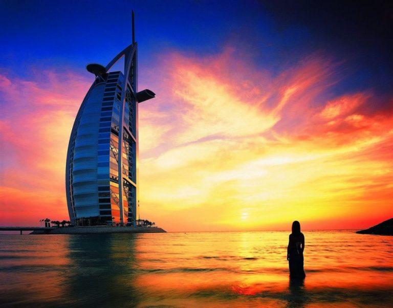 Dubai beach at sunset