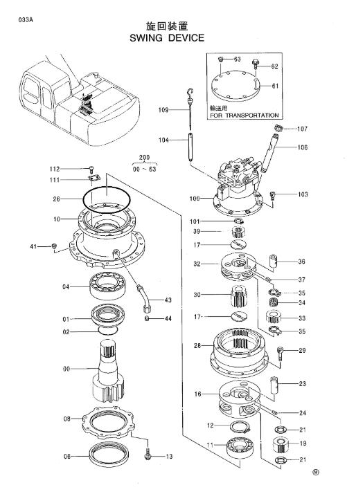 EX200-5 هيتاشي حفارات أجزاء 4330222 حفارة سوينغ موتور
