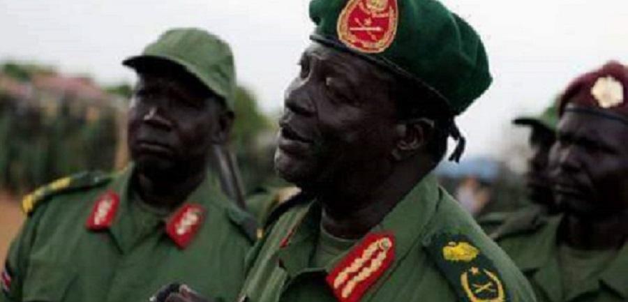 نائب رئيس أركان جيش المعارضة المسلحة سابقاً، جيمس كوانق شول ونائيب رئيس اركان جيش الشعبي الجديد (صورة ارشيفية)