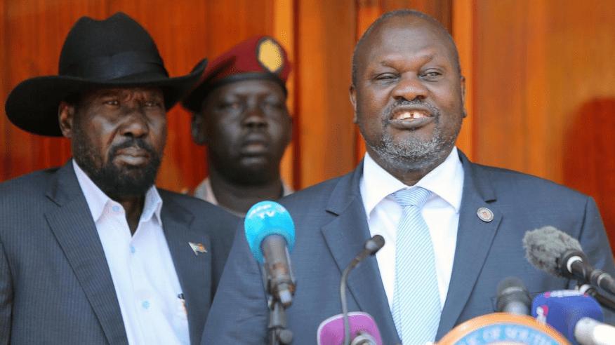 رئيس جنوب السودان سلفاكير ونائبه الأول رياك مشار (صورة أرشيفية)