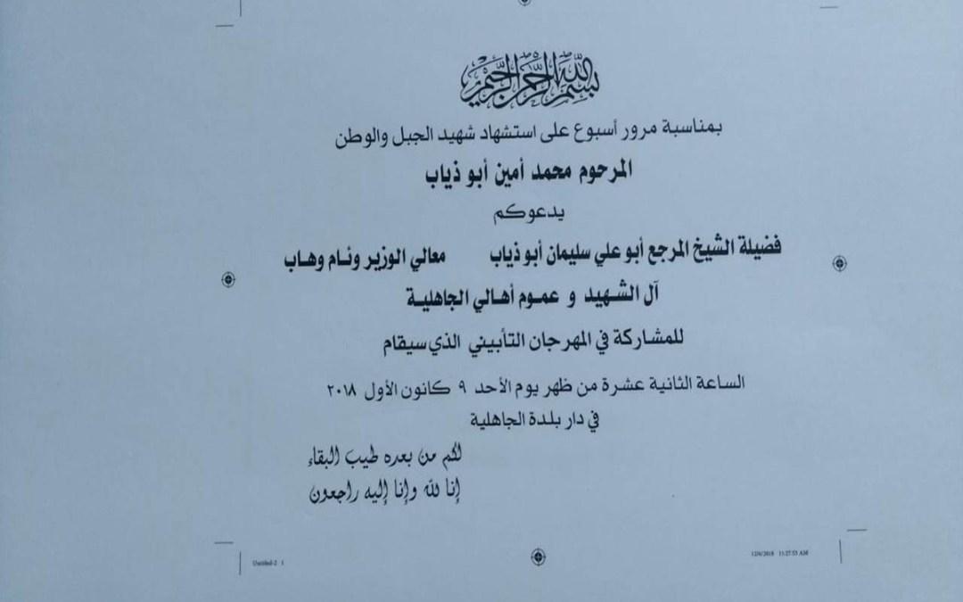 يوم شهيد الجبل والوطن المرحوم محمد أمين ابو دياب