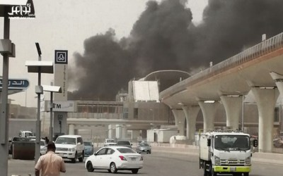 حريق ضخم بمحطة قطارات الرياض في السعودية