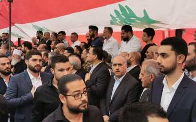 وفد من حزب التوحيد العربي مشاركاً في مأتم الشهيد علاء أبوفخر
