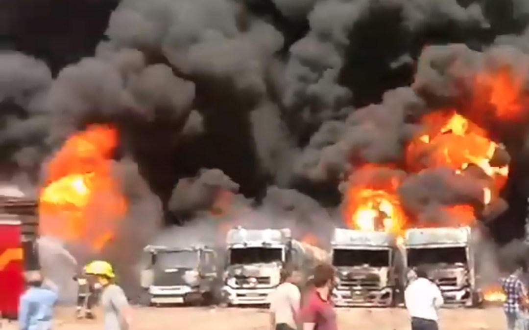 """انفجار في مخازن للوقود في منطقة """"دولت آباد"""" في إقليم كرمانشاه غربي ايران"""