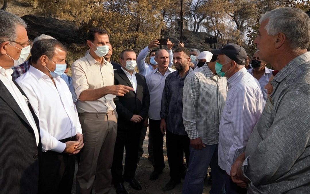 الرئيس السوري بشار الأسد يزور قرية بلوران