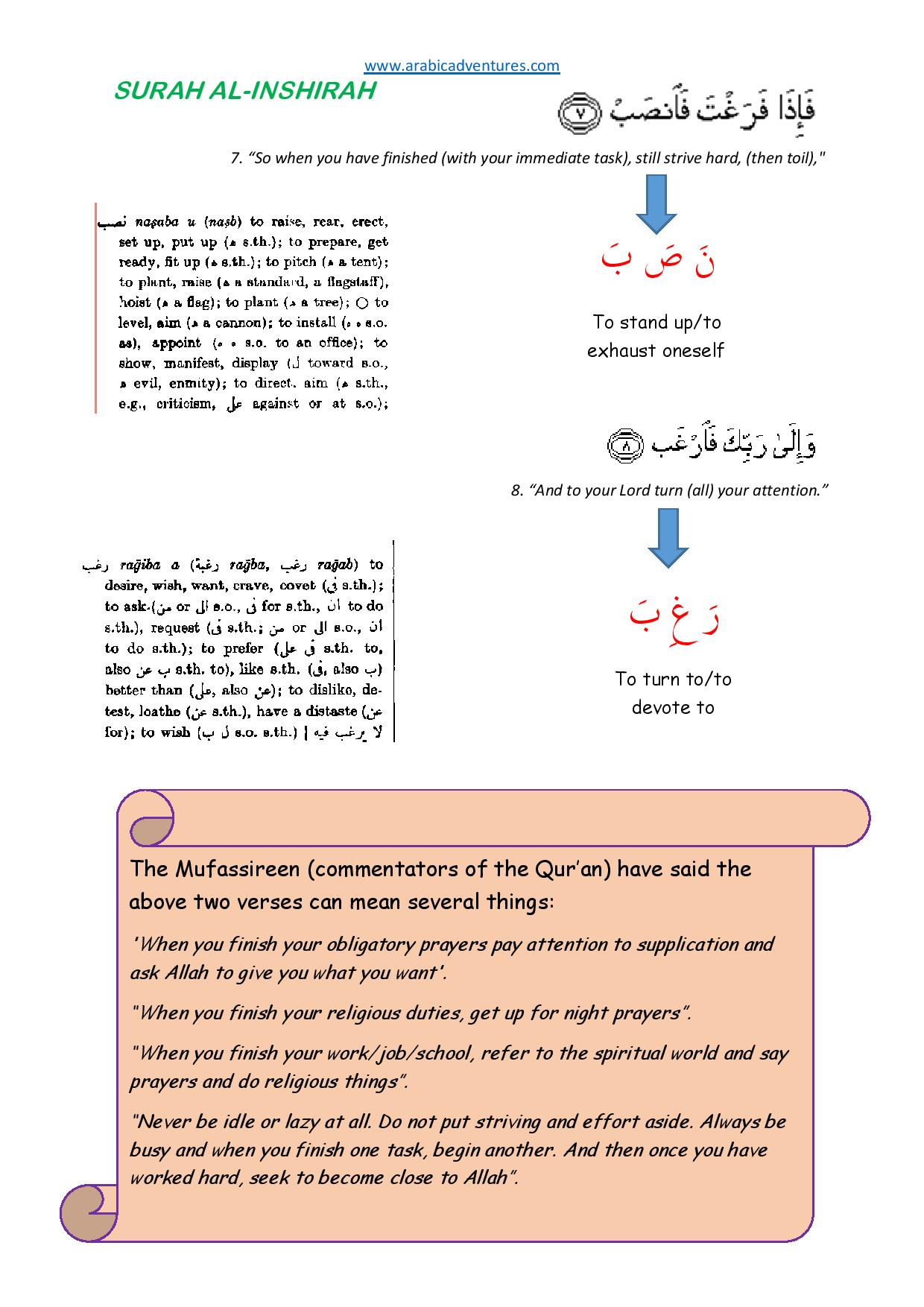 Surah Al Inshirah Tafsir Handout