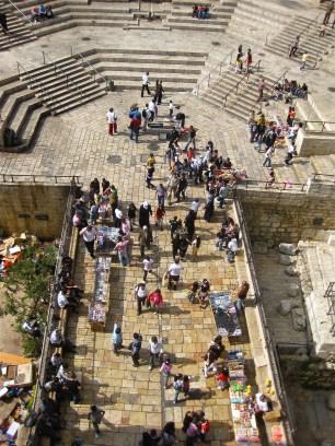 The stairs and the commercial passage leading to Damascus Gate, which is right underfoot