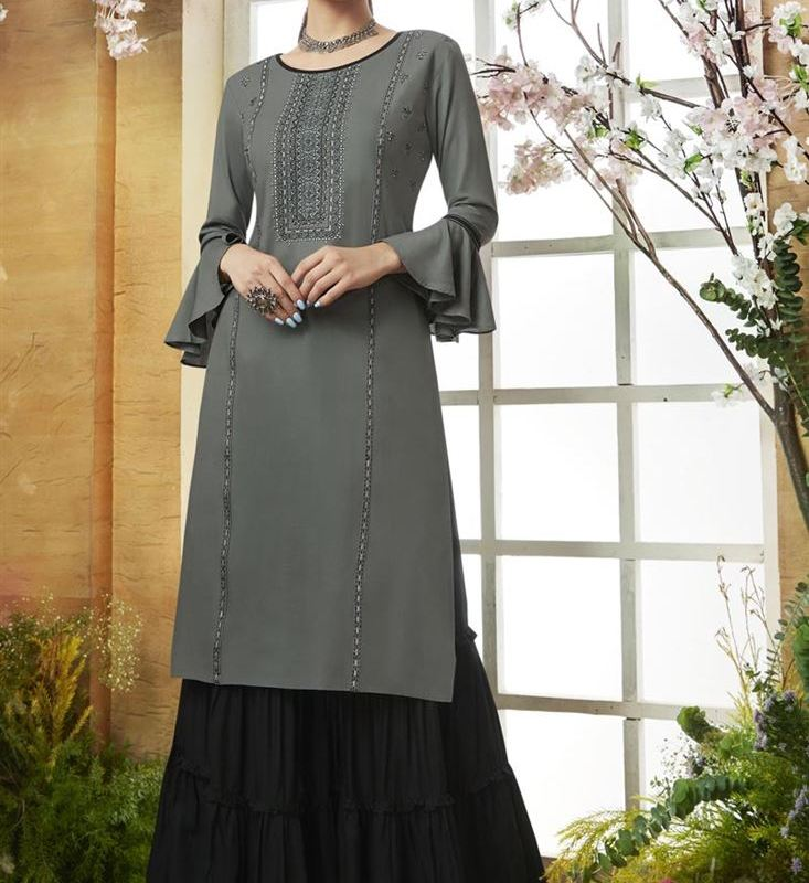 Party Style Sharara Bottom Designer Latest Kurti Designs 2019 For Girls
