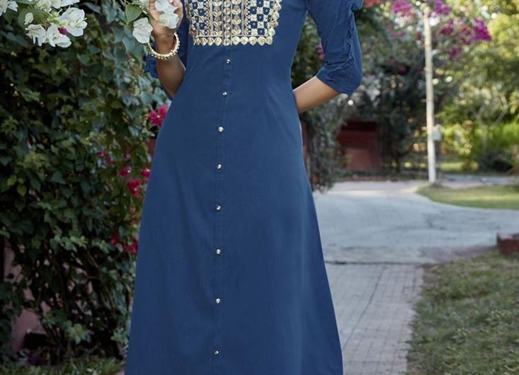Party Wear Cotton Embroidered Latest Kurti Designs 2020 With Stylish Palazzo