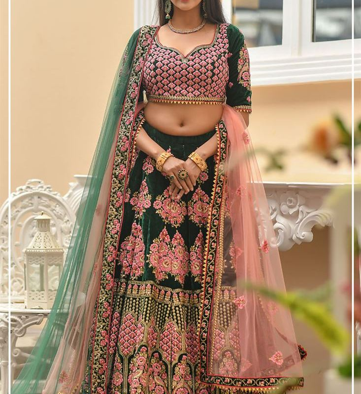 Velvet Embroidered Designer New Bridal Lehenga Designs 2020 Indian Styles,Small Space Design Ideas For Small Kitchens