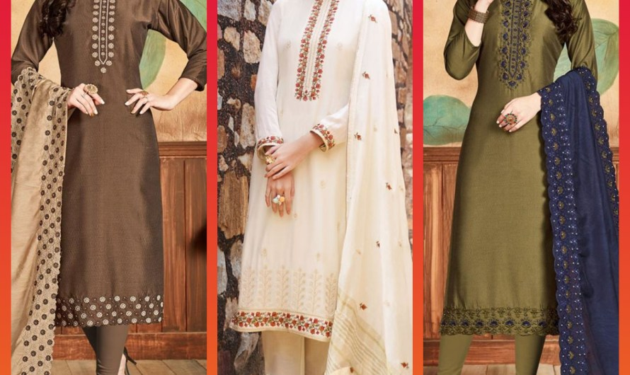 Latest Indian Straight Cut Salwar Kameez Designs 2020 With Stylish Trouser & Churidar