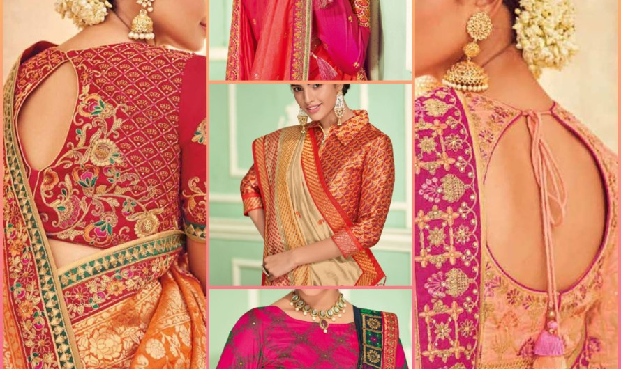 Designer Silk Embroidered Engagement Blouse Designs 2020 For Indian Saree