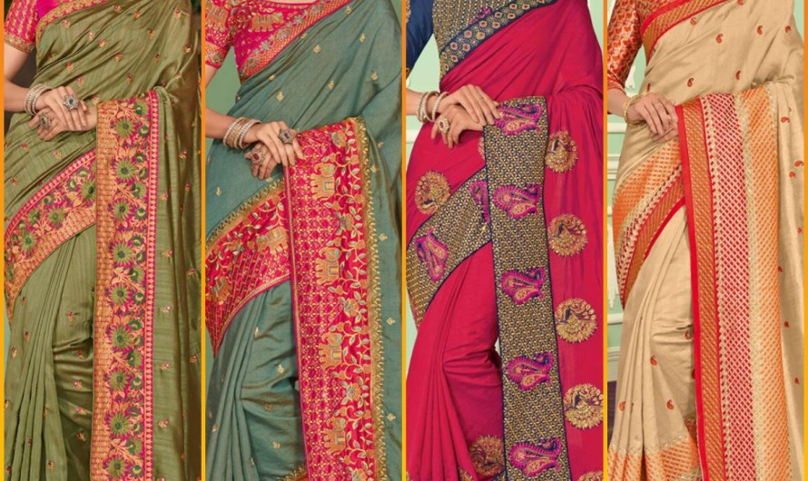 Indian Embroidered Designer Bridal Saree Designs 2020 Silk Styles